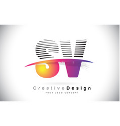 Sv s v letter logo design with creative lines vector