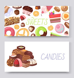sweets set banners with vector image