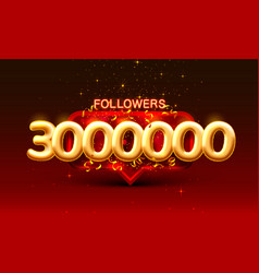 Thank you followers peoples 3000k online social vector