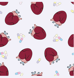 The human heart seamless pattern vector