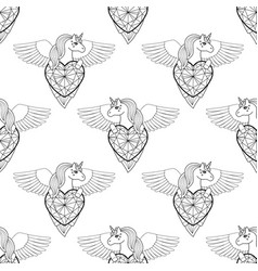 unicorn with heart and wings seamless vector image
