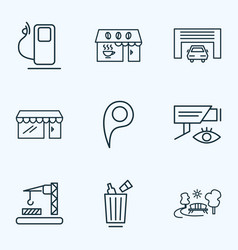 urban icons line style set with park video vector image