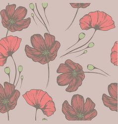 vintage poppies seamless hand drawn pattern for vector image
