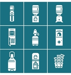 Water coolers white icons set vector image