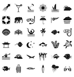 Water diving icons set simple style vector