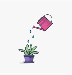 watering can and flower pot vector image