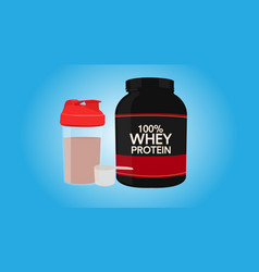 Whey protein bottle with a shaker and a scoop vector