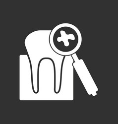 White icon on black background tooth with vector