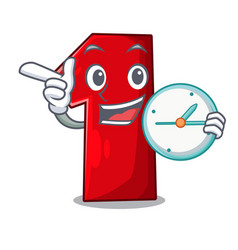 With clock number one index finger on cartoon vector