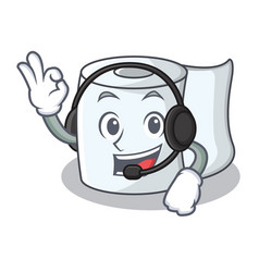 With headphone tissue character cartoon style vector
