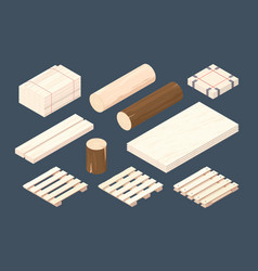 Wooden pallet isometric cargo containers and vector
