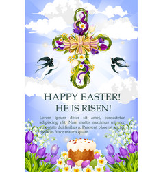 easter cross with cake egg and flower poster vector image