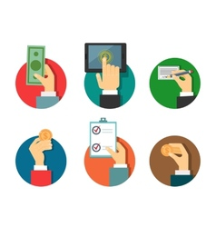 payments with hands vector image