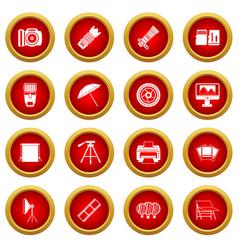 photo studio icon red circle set vector image
