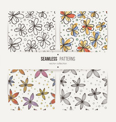 set of seamless doodle floral patterns vector image vector image