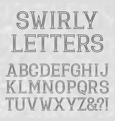 swirly font black capital letters of lines on a vector image