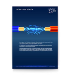 poster design electric cable with sparks copper vector image