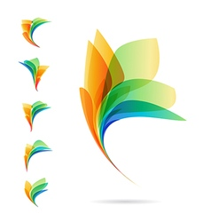 Set of abstract elements logos of petals vector image vector image