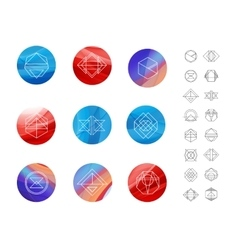 Set of colored wavy silk background circles with vector image
