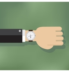 a human hand with watch vector image vector image