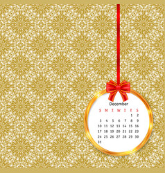 Calendar 2017 in golden circle frame with red bow vector
