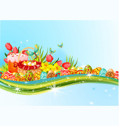 easter egg and flower banner with copy space vector image vector image