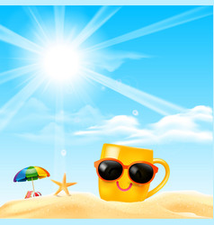 happy smile yellow mug cartoon on the beach with vector image vector image
