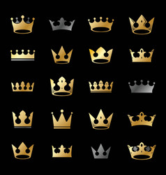 royal crowns ancient emblems elements set vector image
