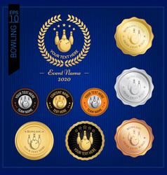 set of bowling badge label or emblem for sport vector image