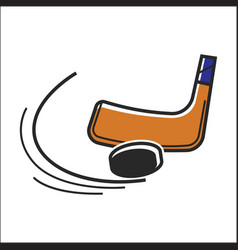 canadian hockey stick and puck isolated vector image