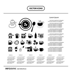 cup and coffee info graphic icon vector image