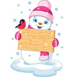 snowman and bullfinch vector image vector image