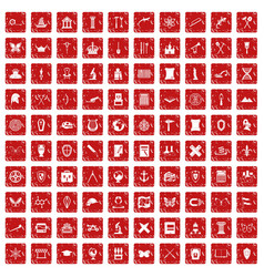 100 archeology icons set grunge red vector