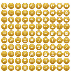 100 glasses icons set gold vector