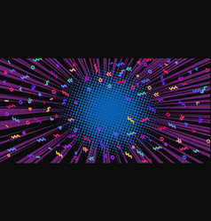 80s background blue tunnel center vector image