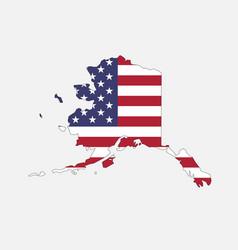Alaska map on american flag vector