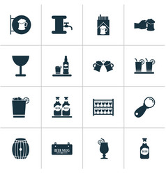 alcohol icons set with placard lever brewery and vector image