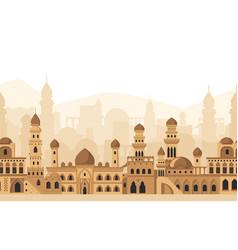 Arabic city traditional mosque buildings vector