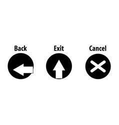 back exit cancel black icons vector image