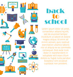 back to school flat banner vector image