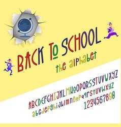 back to school - font banner latin alphabet for vector image