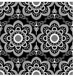 background pattern with white mehndi seamless vector image