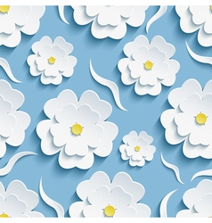 Background seamless pattern with sakura and waves vector