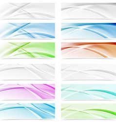 Big modern abstract swoosh wave web headers vector