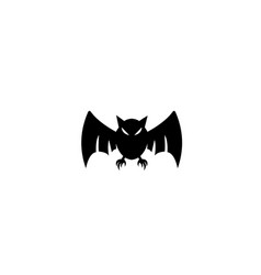 black bat with angry face open wings fly vector image