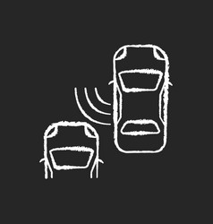 Blind spot monitoring system chalk white icon vector