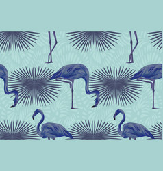 blue flamingo tropical composition seamless vector image