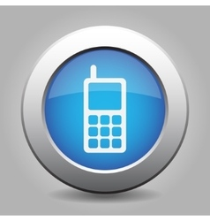 blue metal button with old mobile phone vector image