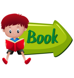 boy reading book at book sign vector image