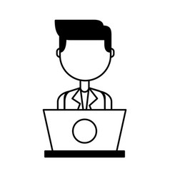 Businessman with laptop avatar character icon vector